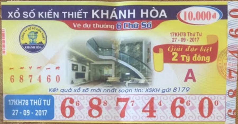 Mẫu vé số kiến thiết Khánh Hòa