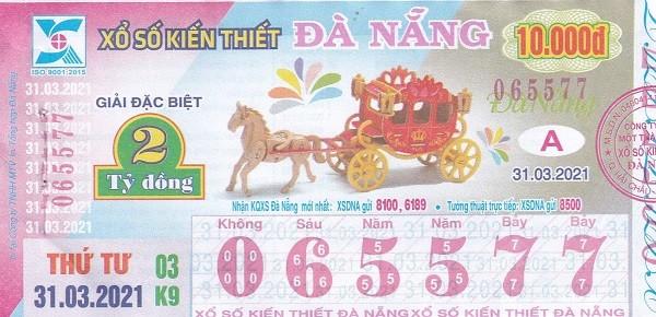 Mẫu vé số Kiến thiết Đà Nẵng