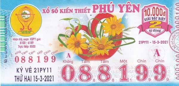 Mẫu vé số Phú Yên